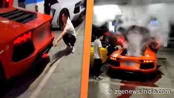 Unbelievable! Man shows cooking skills in his Lamborghini Aventador, narrowly escapes accident