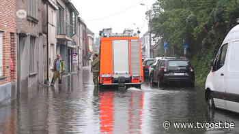 Water in huizen in Lede en Berlare na hevige regenval - TV Oost