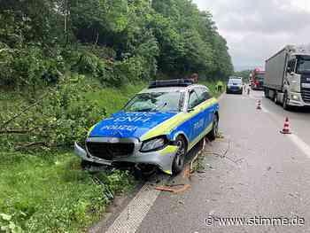 Aquaplaning: Polizeifahrzeug überschlägt sich am Kreuz Weinsberg - STIMME.de - Heilbronner Stimme