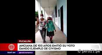 Pucallpa: anciana de 103 Años acudió a las urnas - Diario Perú21