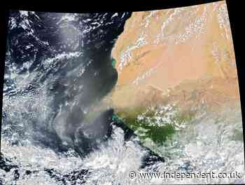 Huge dust storm caught on satellite heading for the Americas