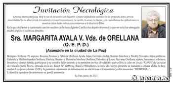 Invitación Necrológica: Sra. MARGARITA AYALA V. Vda. de ORELLANA (QEPD) - Periódico La Patria (Oruro - Bolivia)