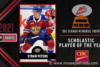 """Moose Jaw's Peters """"humbled and honoured"""" by WHL Scholastic Player of the Year Award - moosejawtoday.com"""