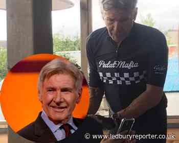 Harrison Ford surprises diners by arriving at English seaside cafe on his bike