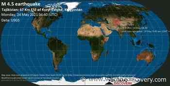 Quake info: Moderate mag. 4.5 earthquake - Tajikistan: 67 Km ESE of Kyzyl-Eshme, Kyrgyzstan, on 24 May 9:40 am (GMT +5) - VolcanoDiscovery