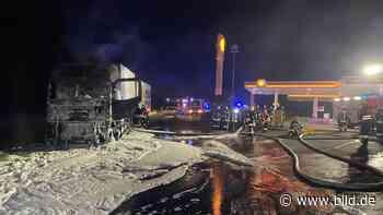 Neuenstein: 100 000 Euro Schaden: Lkw brennt neben Tankstelle aus - BILD