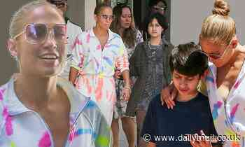 Jennifer Lopez wears a colorful sweatoutfit as she takes her kids out in Miami