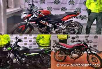 Recuperaron tres motocicletas robadas en Palocabildo, Fresno y El Espinal - Alerta Tolima