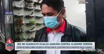 JEE de Huancayo evalúa sanción contra Cerrón por acudir a local de votación con una camisa con el logo de su partido - Canal N