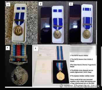 Decorated soldier has five medals stolen from his doorstep