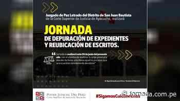 Juzgado de Paz Letrado de San Juan Bautista, realizan depuración de expedientes y reubicación de escritos - Jornada