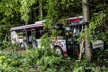 Unfall bei Lauchheim: Omnibus fährt ungebremst in Wald - Straße komplett gesperrt - Heidenheimer Zeitung