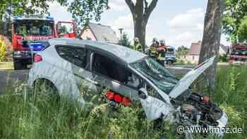 Schwerer Unfall in Hoppegarten : Frau verliert auf B1/B5 Kontrolle über ihr Fahrzeug und kracht gegen einen Baum - moz.de