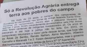 Em Pimenta Bueno, cartas são deixadas em caixas de correios convocando famílias para invadirem a fazenda Nossa Senhora Aparecida em Chupinguaia – Extraderondonia.com.br - Extra de Rondônia