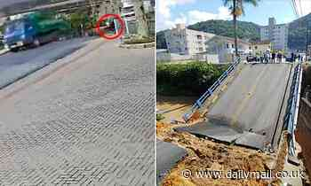 Terrifying moment bridge collapses sending a woman plunging onto the banks of a river below