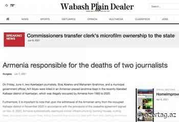 "Wabash Plain Dealer: ""Armenia es responsable de la muerte de dos periodistas"" - AZERTAC Espanol"