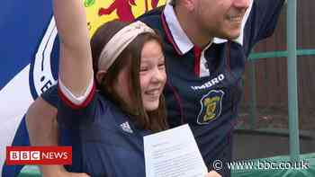 Children prepare to watch Scotland v Czech Republic in schools