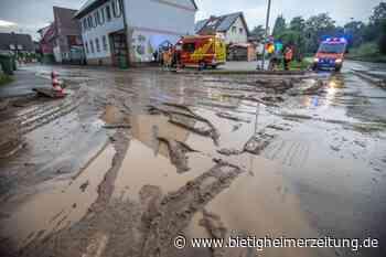 Feuerwehr rückt in Tamm aus: Starkregen spült Schlammschicht auf Straße - Bietigheimer Zeitung