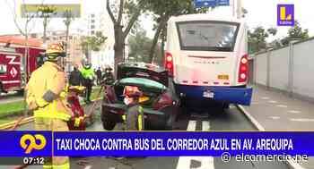 San Isidro: colectivero chocó contra un bus del Corredor Azul y dejó a una persona herida - El Comercio Perú