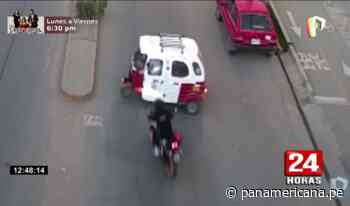 Cajamarca: captan aparatoso choque entre moto y mototaxi   Panamericana TV - Panamericana Televisión