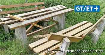 Sitzgruppe bei Duderstadt mutwillig zerstört - Göttinger Tageblatt