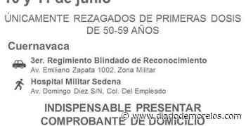 Jueves 10 y viernes 11 vacunan en Cuernavaca SÓLO a rezagados, primera dosis, de 50 a 59 años - Diario de Morelos