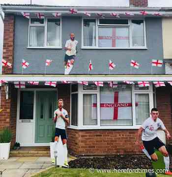 Fan drapes Herefordshire home he shares with Welsh girlfriend with England flags