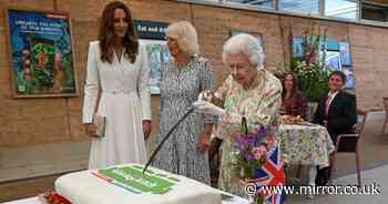 Queen insists on borrowing ceremonial sword to cut cake with Kate seen laughing