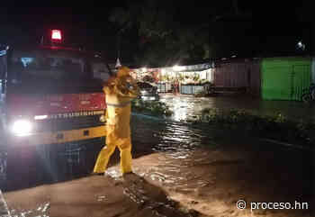 Se reportan calles anegadas por fuertes lluvias en El Progreso - Proceso Digital
