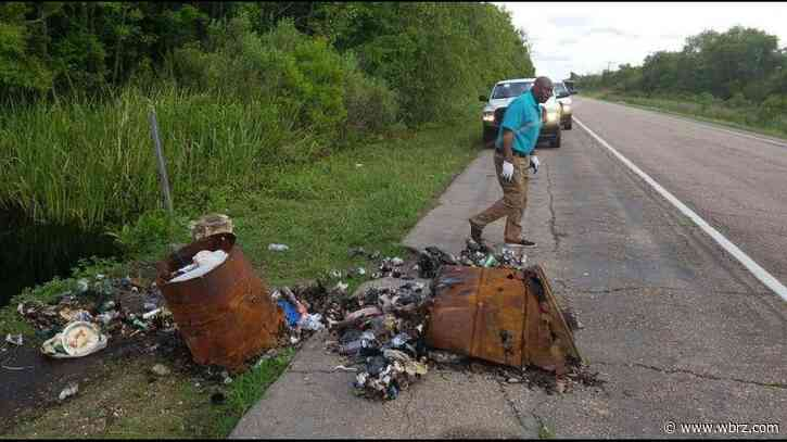 Parish officials clean up gallons of litter on the side of the road