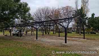 La estructura para la Feria en Parque España de Pergamino ya va tomando forma - zonanortehoy.com