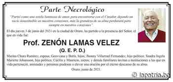 Parte Necrológico: Prof. ZENÓN LAMAS VELEZ (QEPD) - Periódico La Patria (Oruro - Bolivia)