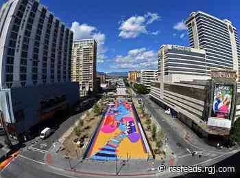 Downtown train trench cover now called 'Locomotion Plaza' with completion of mural