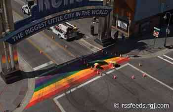 'Love always trumps hate': Tire marks cleaned from Reno Arch rainbow Pride Month crosswalk