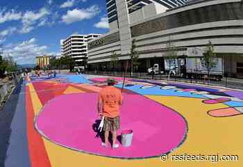 Watch: Time-lapse of volunteers painting the new mural on Reno's ReTRAC plaza