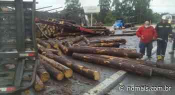 Caminhão carregado com toras de madeira tomba e interdita BR-470, no Alto Vale - ND Mais
