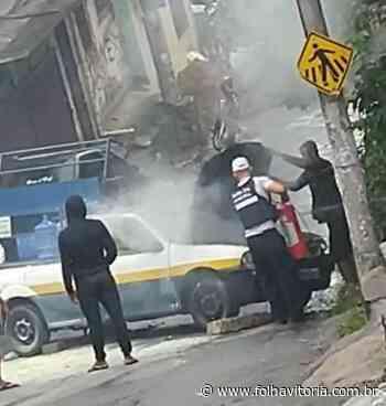VÍDEOS | Veículo carregado com botijas de gás pega fogo em Vitória - Folha Vitória