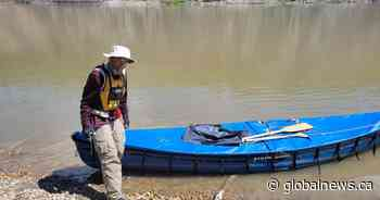 Alberta man paddling across the Prairies in memory of grandchild lost to SIDS - Global News