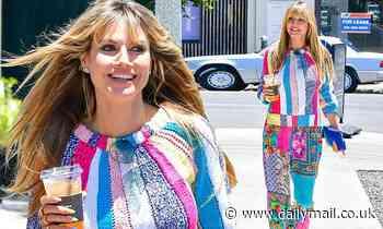 Heidi Klum commands attention in multicoloured ensemble