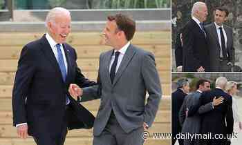 Macron raises eyebrows by being 'all over' Joe Biden at G7