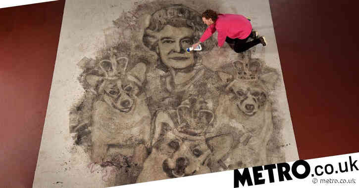 Artist uses stain remover to create massive portrait of the Queen on muddy rug