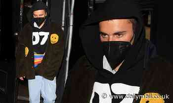 Justin Bieber keeps a low profile in baggy attire after night out at The Nice Guy in West Hollywood
