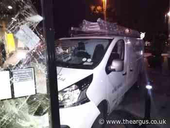 Worthing double glazing van crashes into The Colonnade gallery