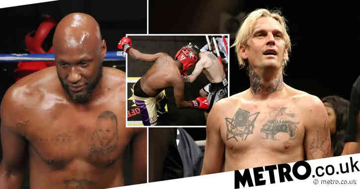 Lamar Odom knocks out Aaron Carter in bizarre celebrity boxing match refereed by Chuck Liddell
