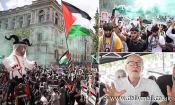 Jeremy Corbyn joins smoke grenade-touting pro-Palestine protestors at Downing Street