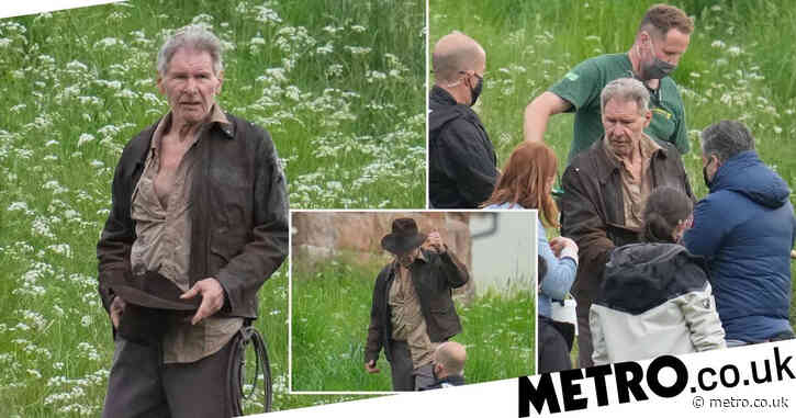 Harrison Ford slips right back into Indiana Jones role as he films scenes with Toby Jones