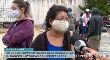Fim do lockdown em Franca gera longas filas - Record TV
