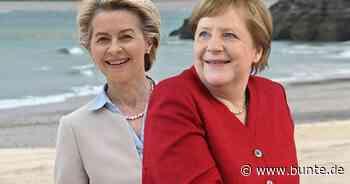 Angela Merkel & Ursula von der Leyen: Hand in Hand: seltener Auftritt mit ihren Ehemännern - BUNTE.de