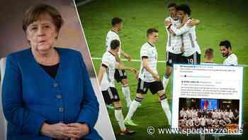 Video-Schalte mit Angela Merkel vor dem EM-Start: Bundeskanzlerin wünscht DFB-Team Glück - Sportbuzzer