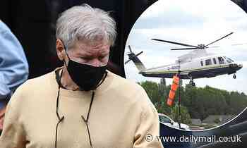 Harrison Ford, 78, leaves his Newcastle hotel before boarding a helicopter to Pinewood Studios